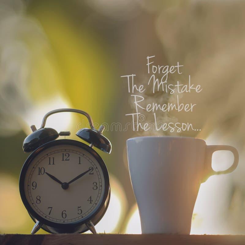Citações inspiradas - esqueça o erro Recorde a lição B fotos de stock