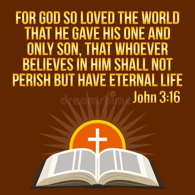 Citações inspiradores cristãs Verso da Bíblia Sol transversal e brilhando ilustração royalty free