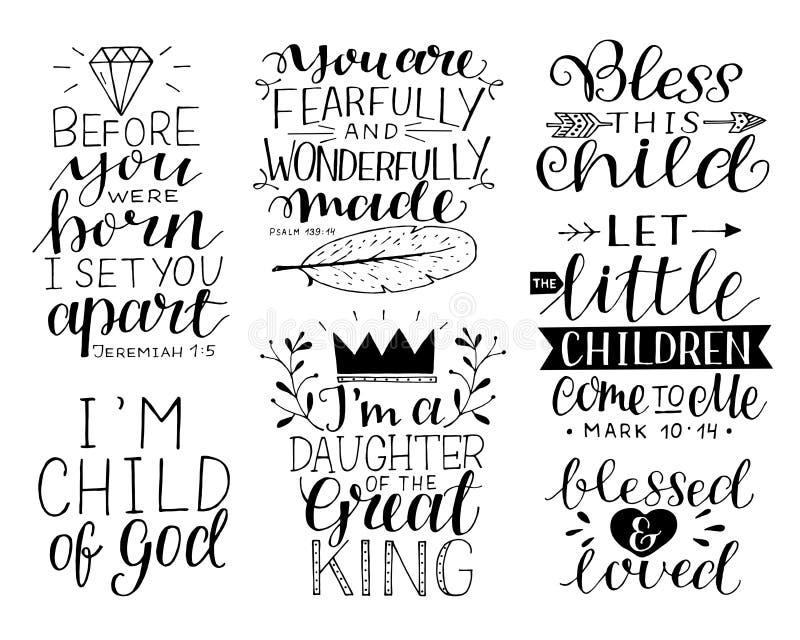 7 citações inspiradores da Bíblia da mão-rotulação para crianças e bebê ilustração royalty free