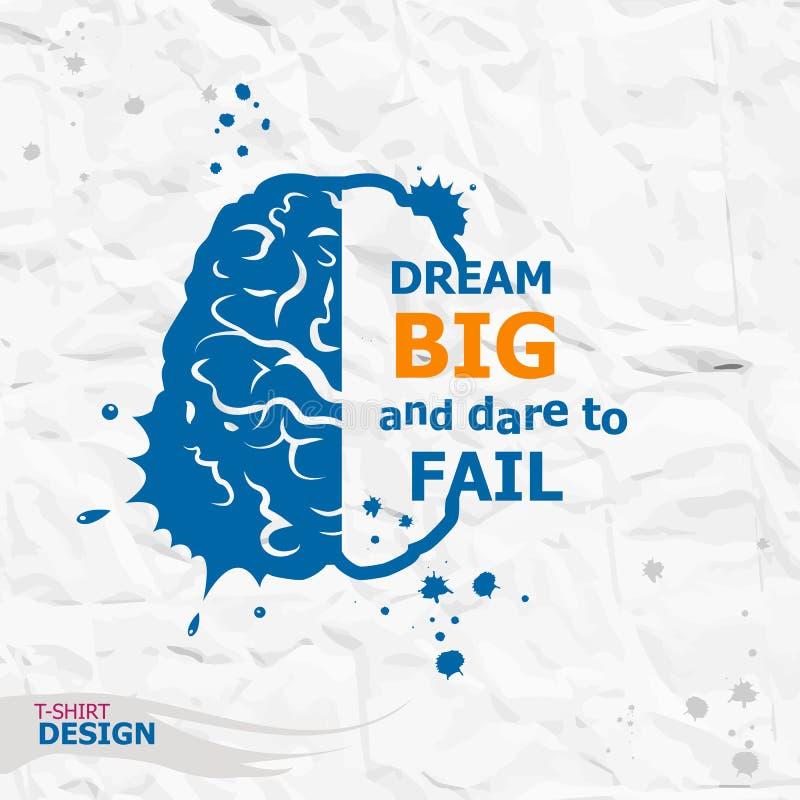 Citações inspiradores inspiradas Grande ideal e desafio a falhar imagem de stock