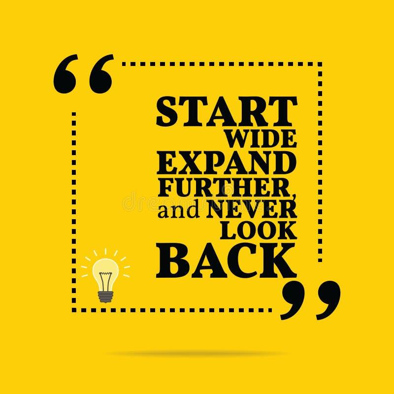 Citações inspiradores inspiradas O começo expande largamente mais, e ilustração stock