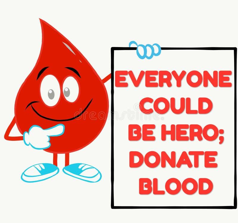 Citações inspiradores perfeitas para a campanha da doação de sangue ilustração do vetor