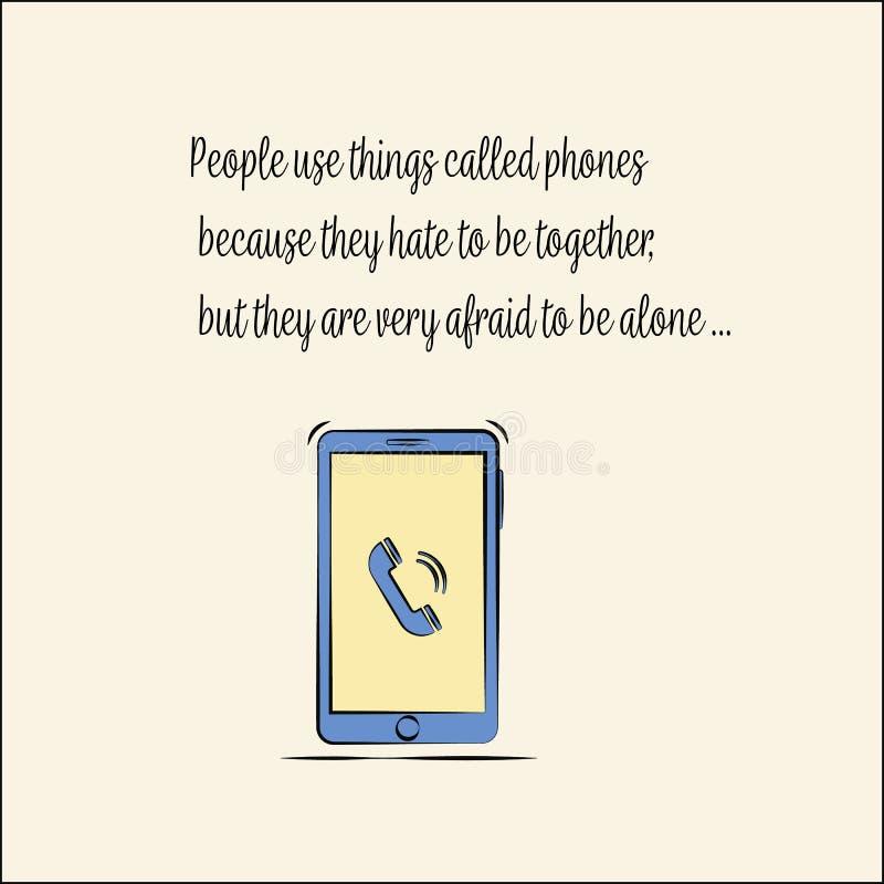 Citações no telefone Cita??es sobre a vida Vetor liso ilustração do vetor