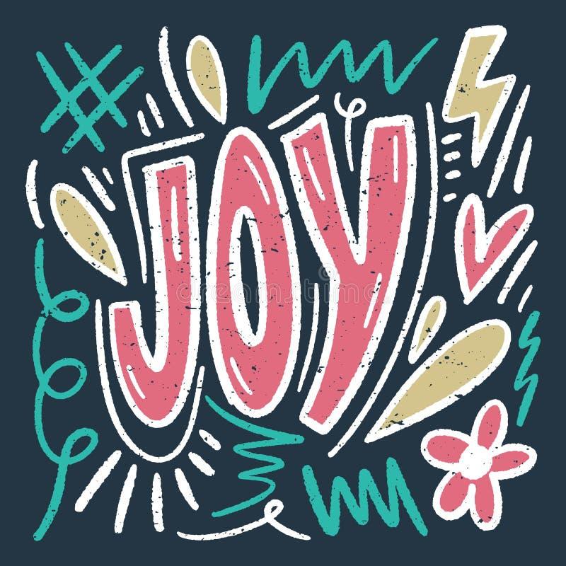Citações positivas de rotulação ornamentados do vetor Texto da alegria Estilo antigo, projeto retro do vintage ilustração royalty free