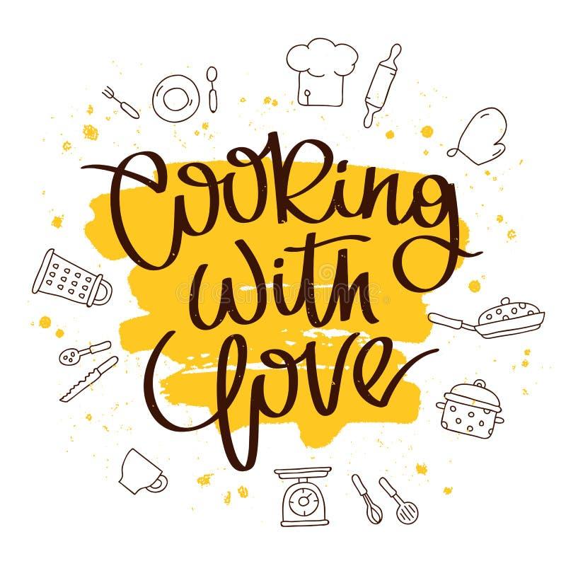 Citações que cozinham com amor ilustração royalty free