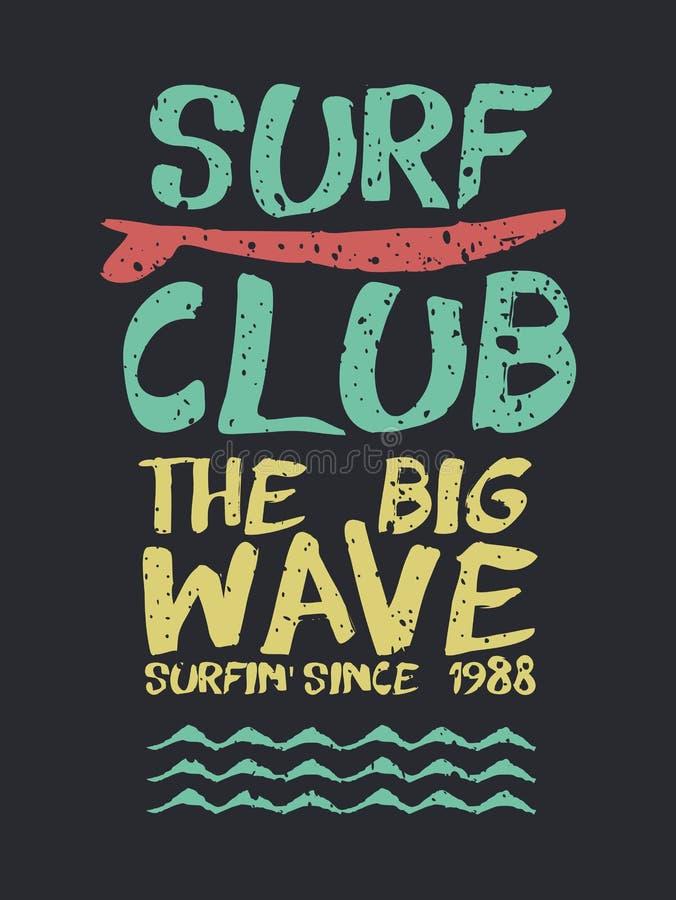 Citações retros do texto da praia do clube da ressaca para o verão ilustração royalty free