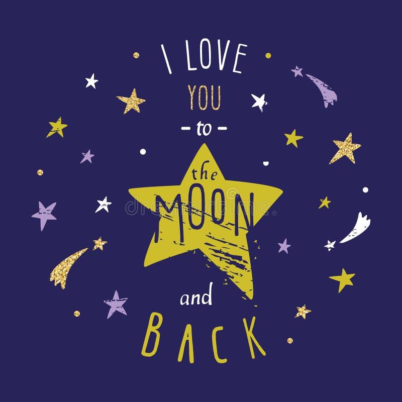 Citações românticas inspiradas e inspiradores do amor Mim você à lua para trás ilustração do vetor