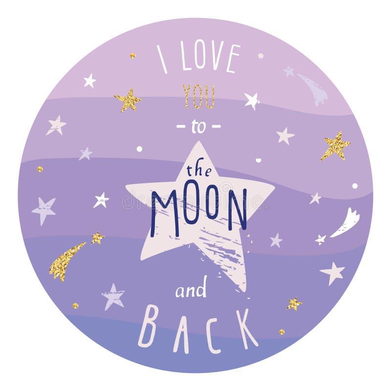 Citações românticas inspiradas e inspiradores do amor Mim você à lua para trás A rotulação com as estrelas azuis do ouro do brilh ilustração do vetor