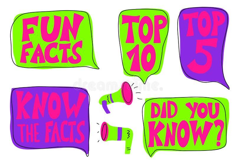 Citações sobre os fatos ajustados Texto estilizado do vetor ilustração royalty free