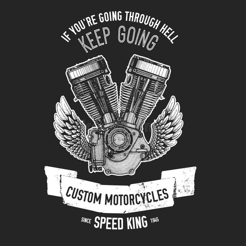 Citações tiradas mão sobre motocicletas e motociclistas ilustração stock