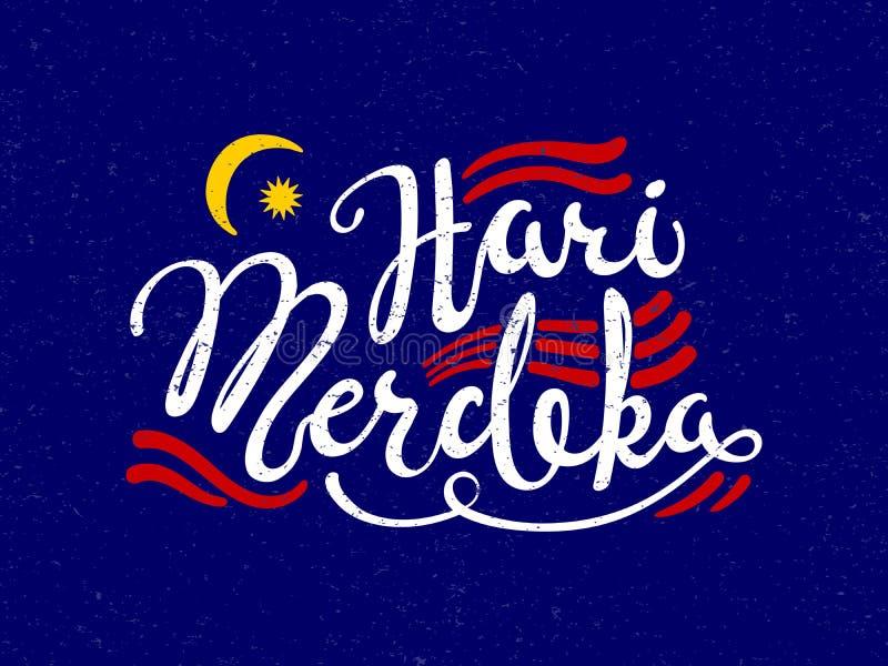 Cita caligráfica del Día de la Independencia de Malasia libre illustration
