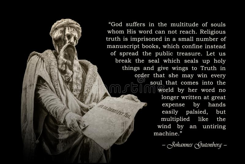 Cita de Johannes Gutenberg fotos de archivo