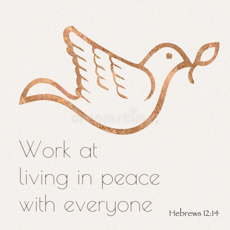 Cita de la biblia del 12:14 de Hebews stock de ilustración