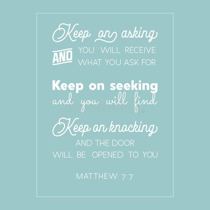 Cita de la biblia de Matthew stock de ilustración