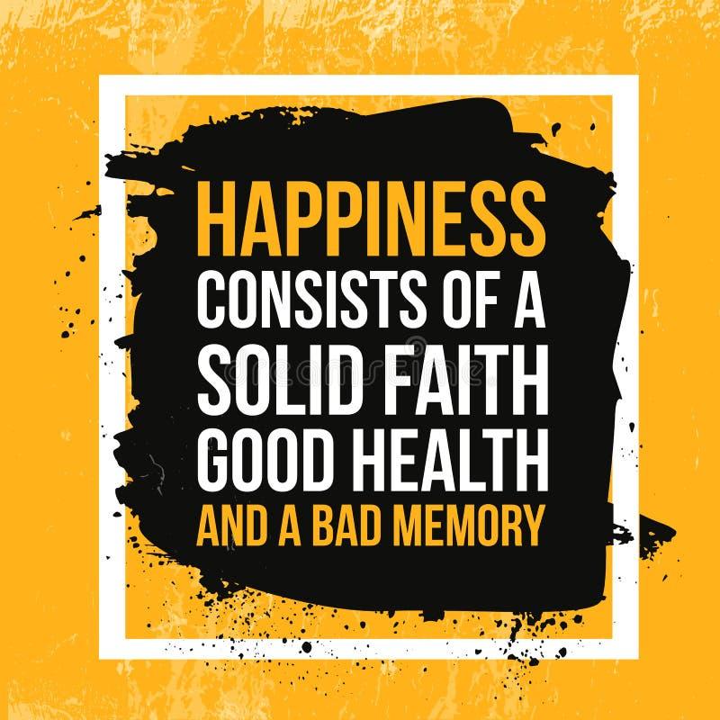 Cita de la felicidad Cartel de motivación tipográfico sobre el trabajo difícilmente Tipografía para el mensaje de la buena vida,  ilustración del vector