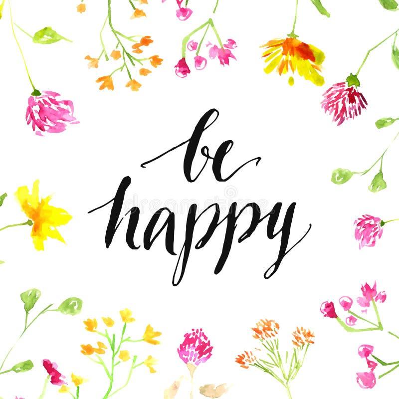 Cita de la inspiración - sea feliz - manuscrita adentro libre illustration