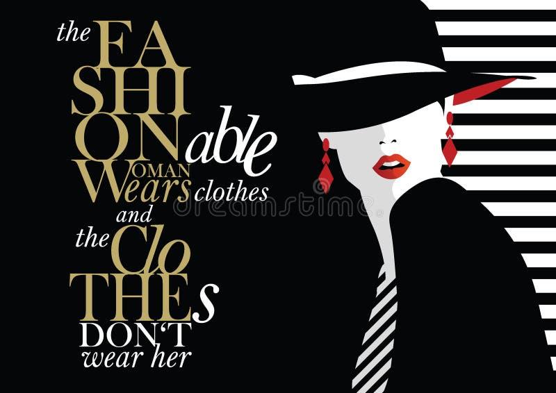 Cita de la moda con la mujer de la moda stock de ilustración