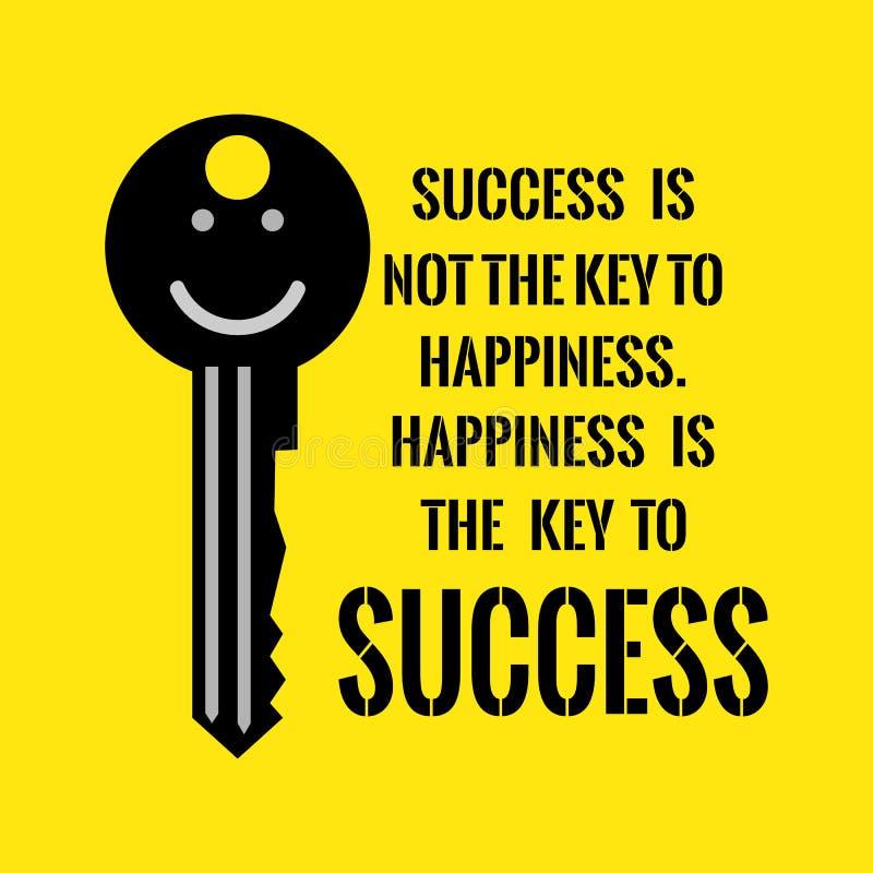 Cita de motivación El éxito no es la llave a la felicidad Happine imagen de archivo