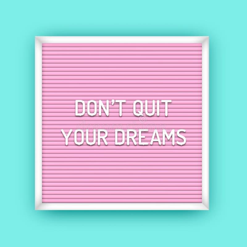 Cita de motivación en cartón rosa cuadrado con letras blancas de plástico. Afiche inspirador de Hipster. No libre illustration