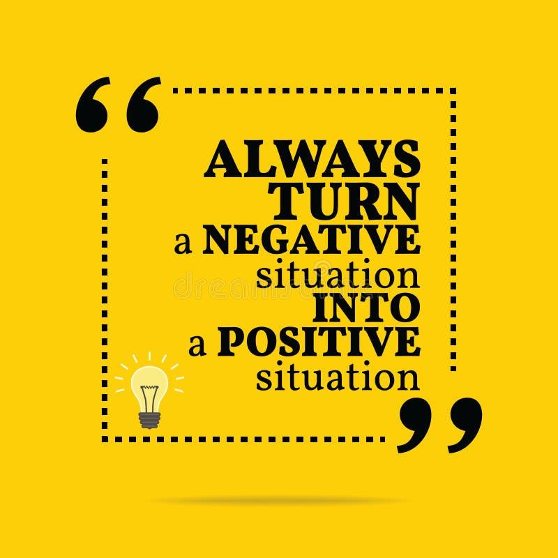 Cita de motivación inspirada Dé vuelta siempre a un situati negativo libre illustration