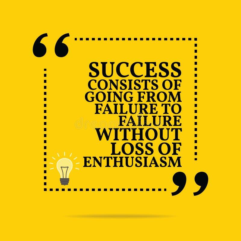 Cita de motivación inspirada El éxito consiste en el ir de stock de ilustración