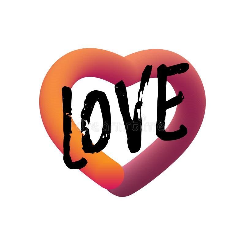 Cita del amor Letras flúidas modernas Icono liso colorido de la web de la pendiente Diseño elegante para las tarjetas del día de  libre illustration