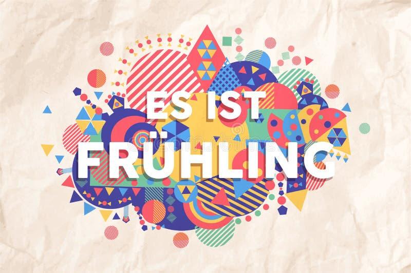 Cita del texto de la estación del tiempo de primavera en lengua alemana stock de ilustración