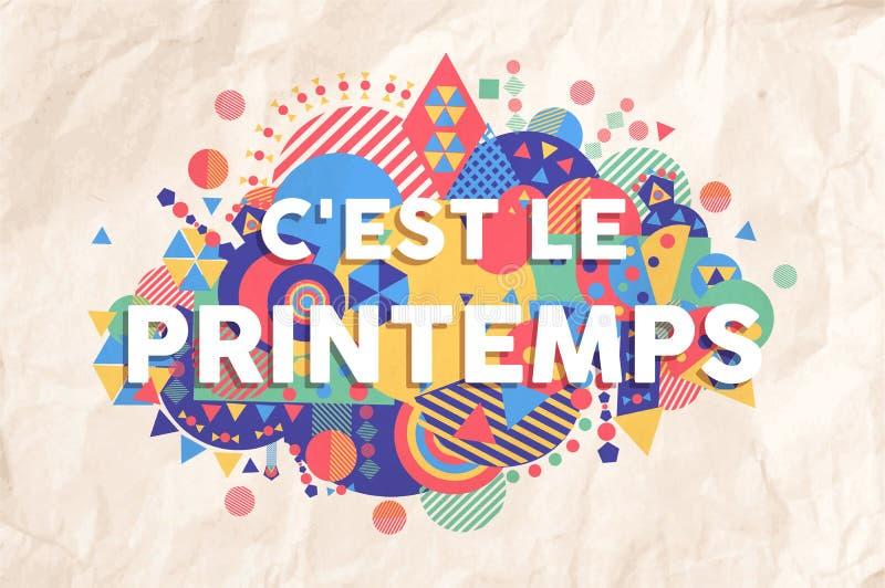 Cita del texto de la estación del tiempo de primavera en lengua francesa libre illustration