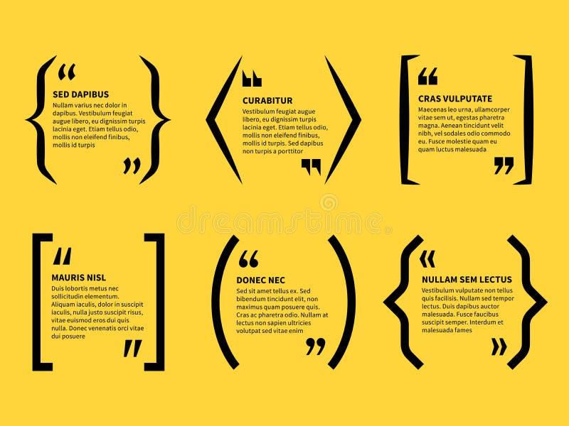 Cita en soportes Texto en las marcas de las citas, burbujas tipográficas del discurso Comentario del mensaje de la nota, opinión  stock de ilustración