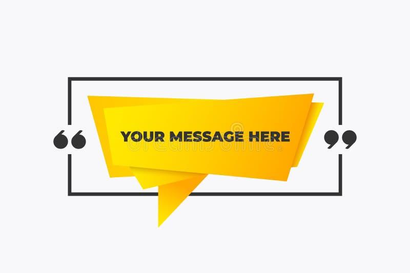 Cita en un marco con comillas Diseño de cuadro de frase de cita creativa amarilla Banner de mensaje de papel vector stock de ilustración
