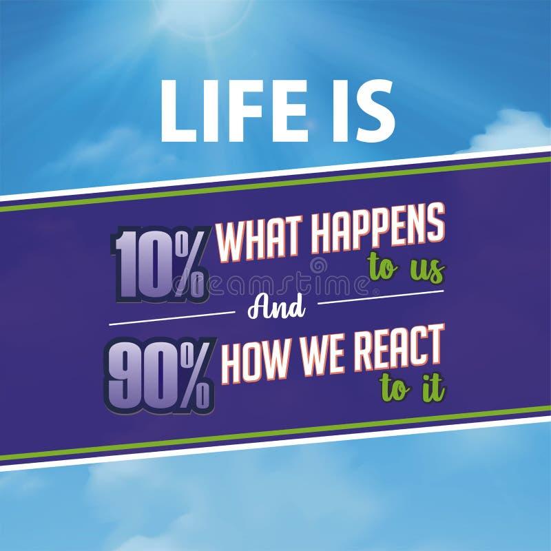 Cita??es inspiradas A vida ? 10% o que acontece a n?s e a 90% como n?s lhe reagimos ilustração stock