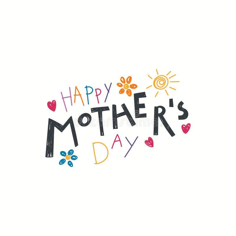 Cita escrita mano del día de madres ilustración del vector