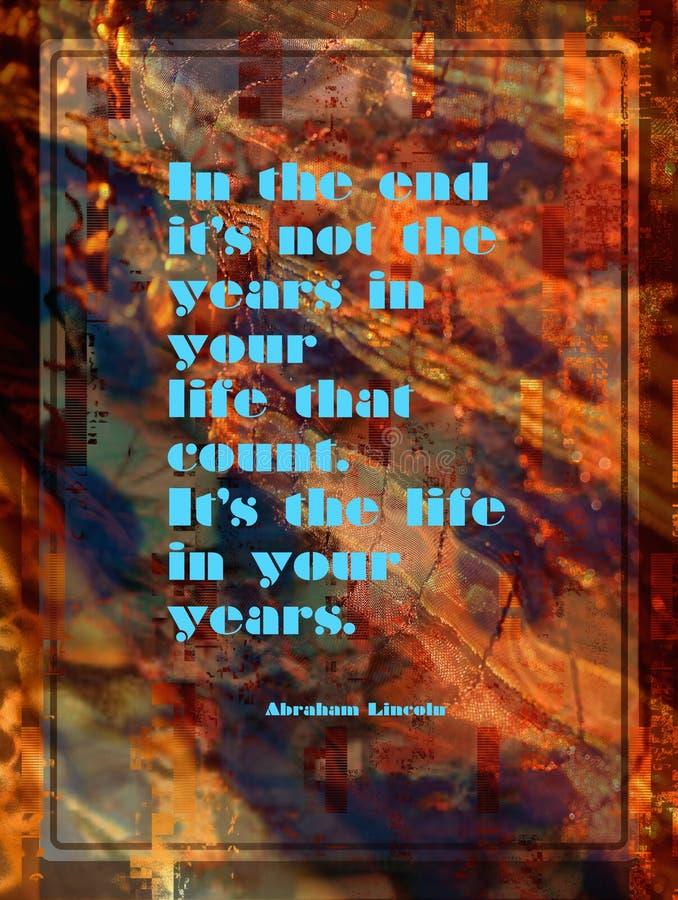 Cita inspirada de Abraham Lincoln en fondo abstracto colorido imagen de archivo