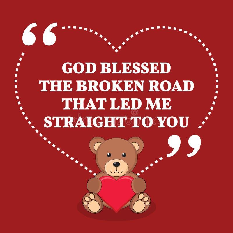 Cita inspirada de la boda del amor Dios bendijo el camino quebrado t libre illustration