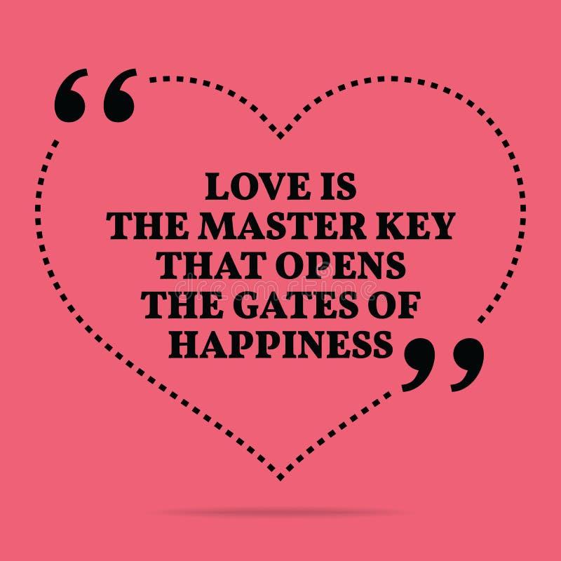 Cita inspirada de la boda del amor El amor es la llave principal que o stock de ilustración