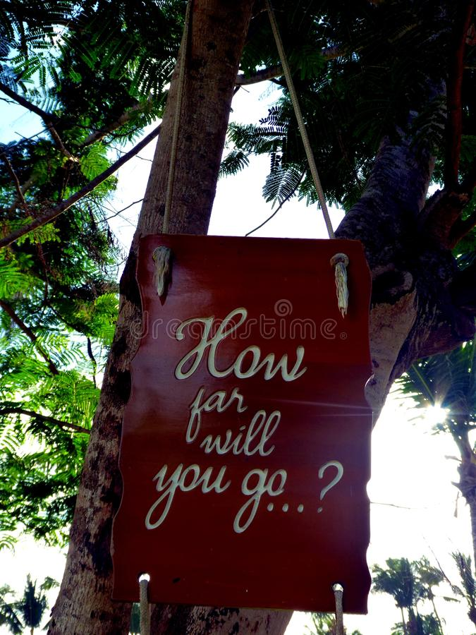 Cita inspirada de la motivación hasta dónde usted irá en una ejecución del suspiro en árbol foto de archivo
