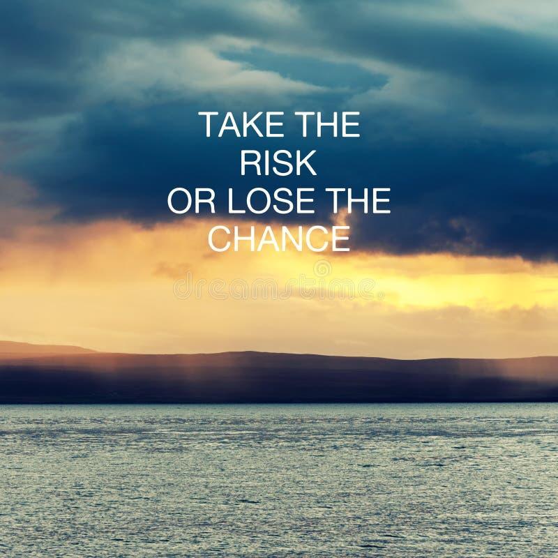 Cita inspiradora: asuma el riesgo o pierda el cambio fotografía de archivo