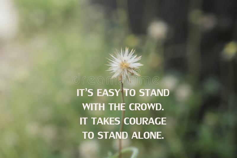 Cita inspiradora - Es fácil estar con la multitud Se necesita coraje para estar solo Con flores silvestres blancas y pradera verd fotos de archivo