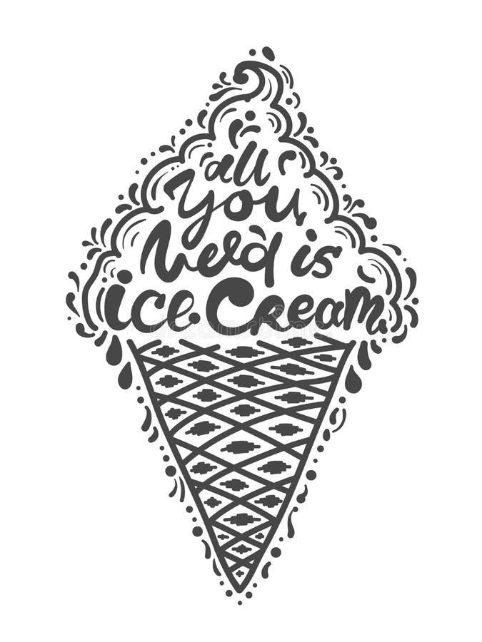 Cita todos lo que usted necesita es helado Ejemplo del vector de la frase de las letras Cartel de motivación de la caligrafía ilustración del vector