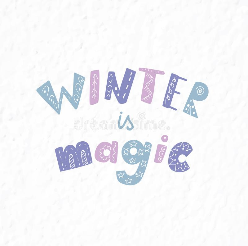 Cita y frase del invierno Letras dibujadas mano ilustración del vector