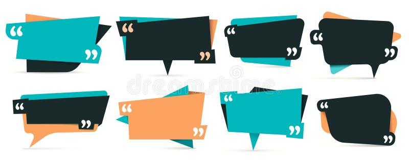 Citaat in citaten Opmerkingskaders, kader voor idee en de vectorreeks van het citaatmalplaatje royalty-vrije illustratie