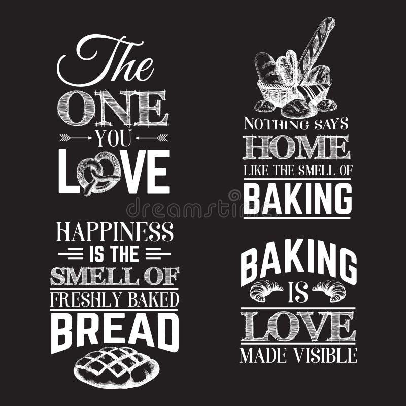 Citaat typografische achtergrond over brood vector illustratie