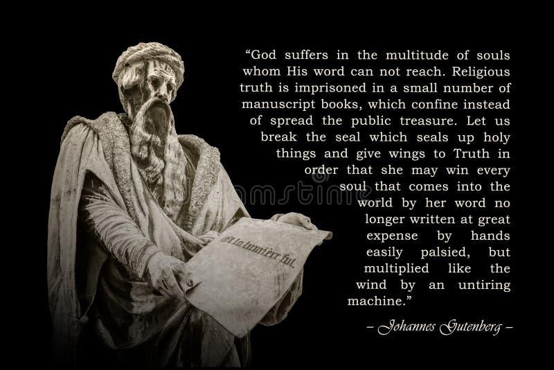 Citaat van Johannes Gutenberg stock foto's