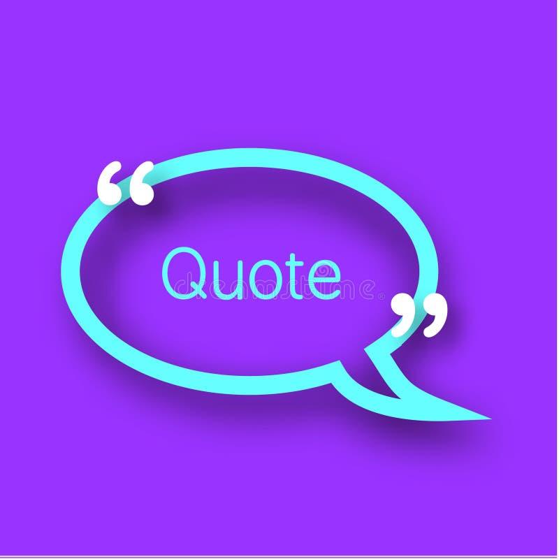 Citaatbel op violette achtergrond Kleurrijk document kader met komma's voor uw tekst in realistische stijl Het malplaatje van het vector illustratie