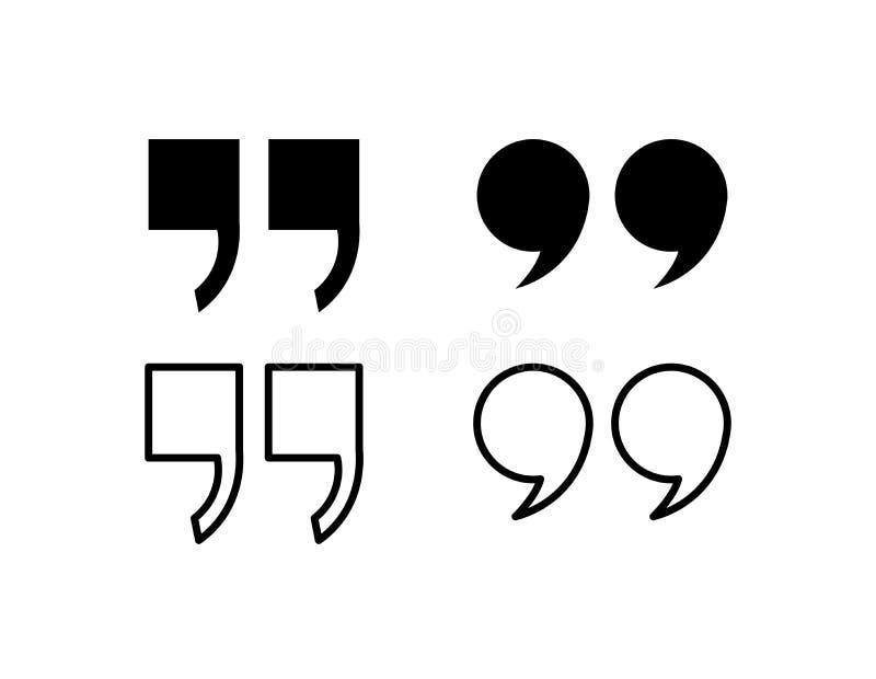 Citaatpictogram Het symbool van de citaatparagraaf dubbel kommateken de toespraakteken van de bellendialoog Vector illustratie vector illustratie