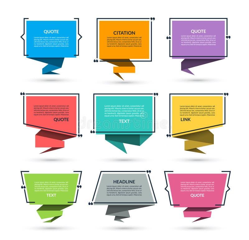 Citaatvakje, toespraakbel, tekst tussen haakjes, citaat leeg die kader op witte achtergrond wordt geïsoleerd vector illustratie