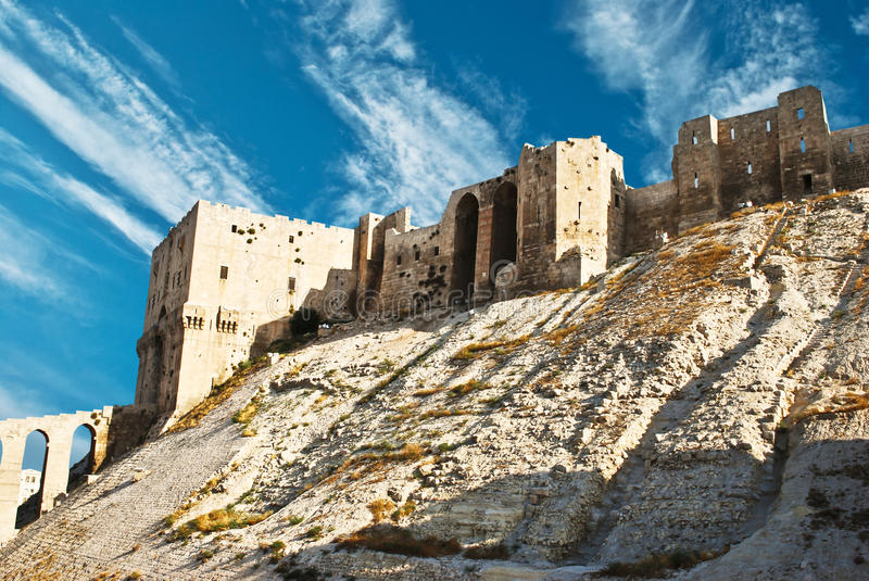 Citadel in Aleppo royalty free stock images