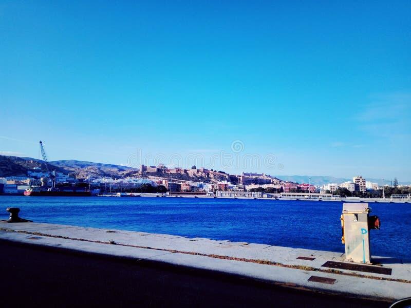 The citadel of ALmeria. View of the citadel of Almería from the Poniente dock of the Port of Almería Spain royalty free stock image