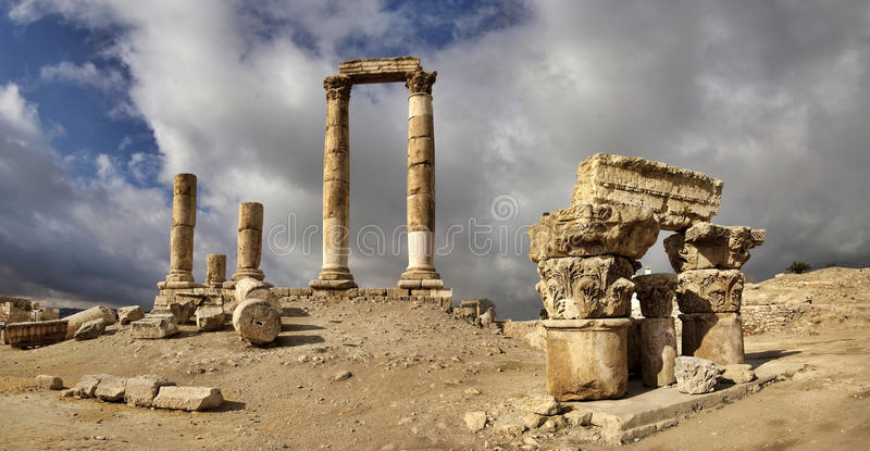 The Citadel in Amman in Jordan. stock images