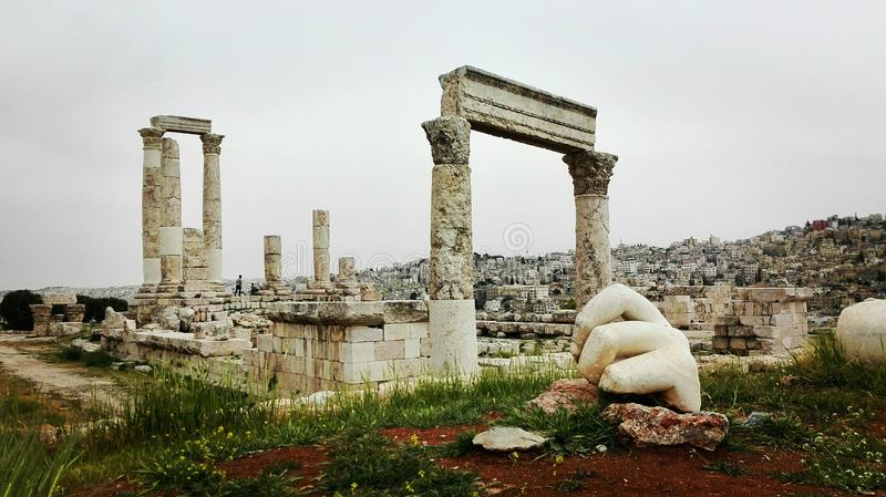 Citadel of Amman, Jordan. View of the Temple of Hercues. Foreground with the `Hand of Hercules royalty free stock photo